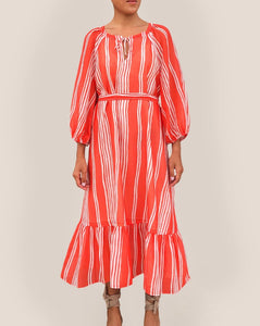 THE TIANA DRESS in Red Striped Cotton-Gauze