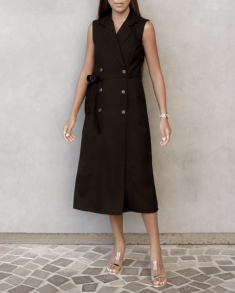The Alex Sleeveless Trench Dress - Black