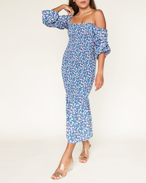 The Ariel Dress in Dusty Blue Floral