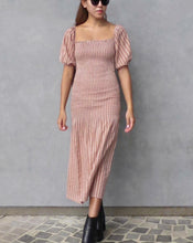 Load image into Gallery viewer, GIA DRESS in dusty rose jacquard cotton