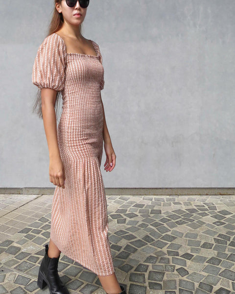 The Gia Dress in dusty rose jacquard cotton