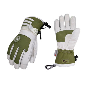 Vgo 2 Pairs -4℉ 3M G80 Lined Unisex Goatskin Waterproof Ski Gloves (Ladies, Grey, SF-GA2446FW-W)