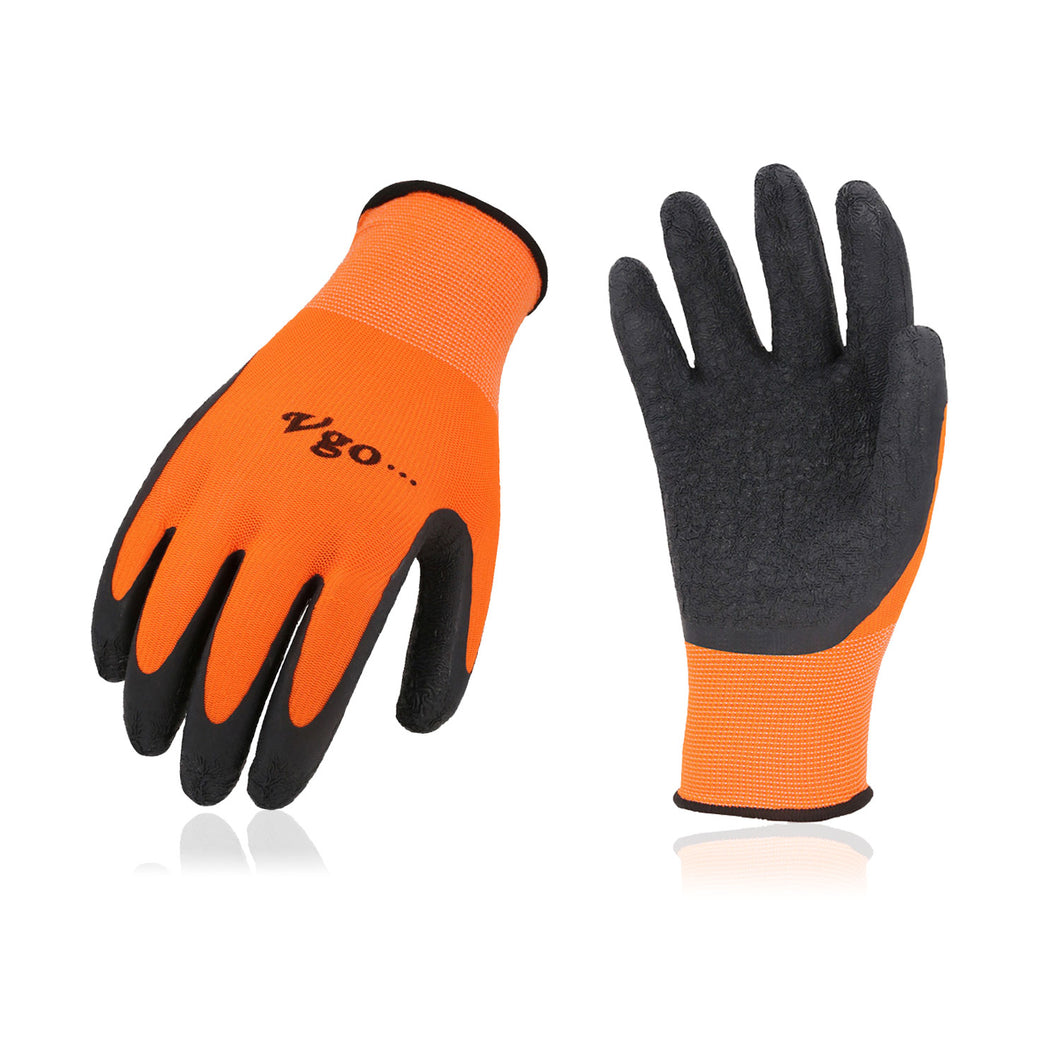 Vgo 6 Pairs Latex Rubber Coated Gardening and Work Gloves (High-Vis Green&Orange, RB6023-GO)