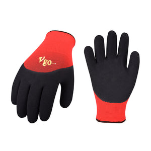 Vgo 5Pairs Freezer Winter Work Gloves, Double Lining Rubber Latex Coated for Outdoor Heavy Duty Work(Black/Red, RB6032)