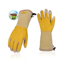 Load image into Gallery viewer, Vgo Premium Cow Grain Leather Extra-Long Cuff Thornproof Gardening Gloves (Men's Gold,1 Pair/2 Pairs, CA1013-M)