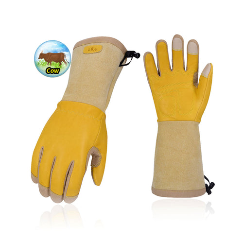 Vgo Premium Cow Grain Leather Extra-Long Cuff Thornproof Gardening Gloves (Men's Gold,1 Pair/2 Pairs, CA1013-M)