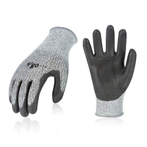 Vgo 2/5 Pairs Level 5 Cut Resistant Gloves EN388 Certified Hand Protection Gloves (Grey,SK2131)