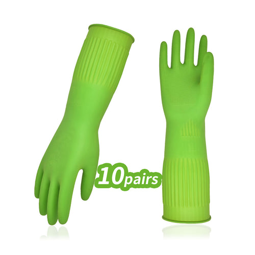 Vgo 3/10 Pairs Reusable Household Gloves(Red/Green, RB2143)