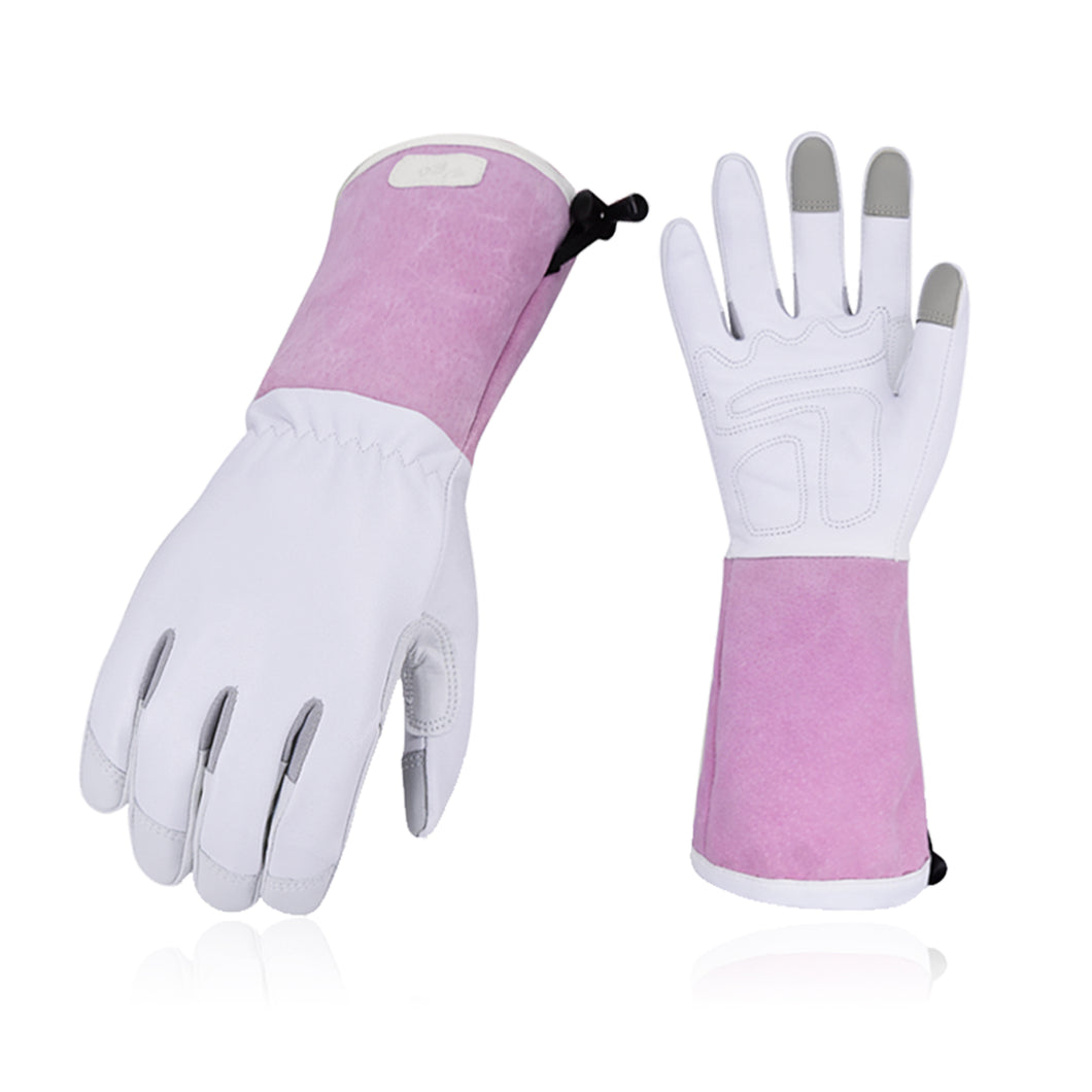 Vgo... 1 Pair/2 Pairs Premium Genuine Goat Gardening Gloves (1Pair,White,GA1013-W)