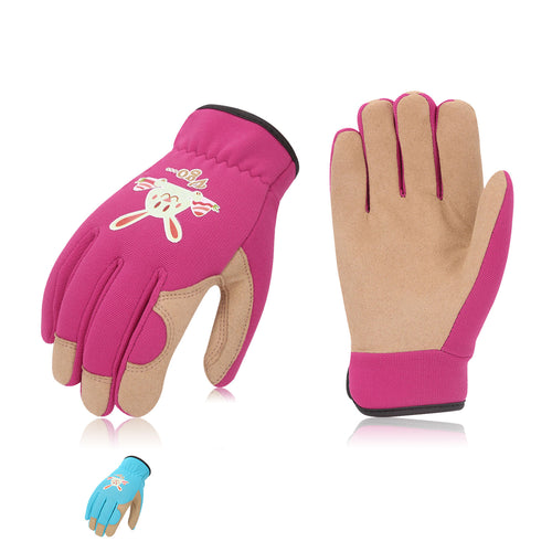 Vgo 2 Pairs Age 3-8 Kids Gardening, Lawning, Working Gloves (2 Colors, KID-SL7362)