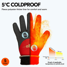 Load image into Gallery viewer, Vgo 5Pairs Freezer Winter Work Gloves, Double Lining Rubber Latex Coated for Outdoor Heavy Duty Work(Black/Red, RB6032)