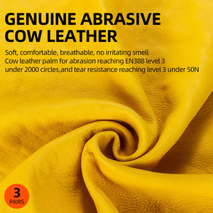 Vgo 3 Pairs Unlined Cow Grain Leather Work and Driver Gloves(Gold,CA9590-G)
