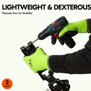 Vgo 3Pairs Foam Latex Coated Gardening and Work Gloves (Black, High-Vis Orange & Green, RB6010)