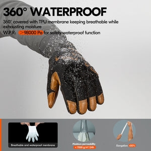 Vgo -4℉ or above 3M Thinsulate C100 Winter Warm Waterproof Light Duty Mechanic Glove,High Dexterity,Anti-abrasion,Rigger Glove(Brown,GA9603FW)