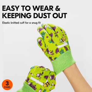 Vgo 3-Pairs Age 3-7 Kids Cotton and PVC Dots Working Gloves, Gardening Gloves( Green, CT2400)