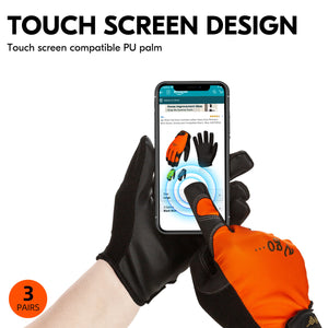 Vgo 3 Pairs High Dexterity Touchscreen PU Leather Work Gloves Multipurpose(3 Colors,PU8718)