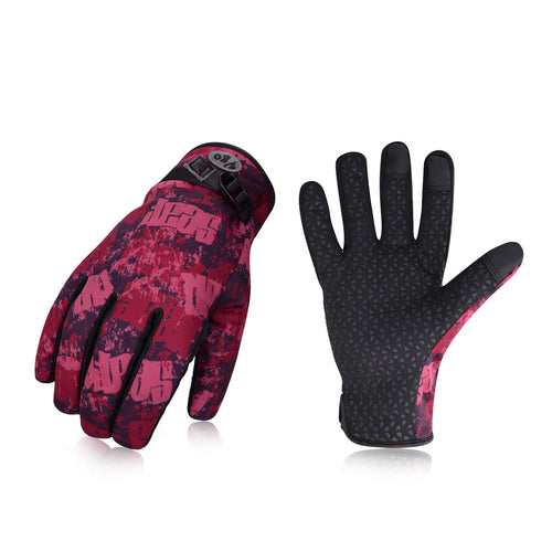 Vgo... 32℉ or Above Ladies' Winter Outdoor Gloves (Red&Black,SL221FW-W)