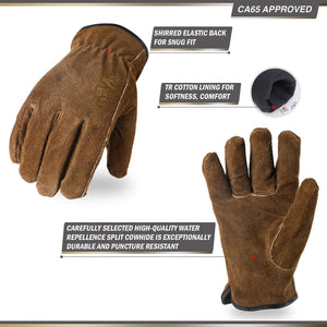 Vgo 3Pairs 41°F or above Cow Split Leather Winter Work Gloves, TR Lining w/Knitted Cuff (Brown, CB9501F)