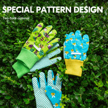 Load image into Gallery viewer, Vgo 3-Pairs Age 3-7 Kids Cotton and PVC Dots Working Gloves, Gardening Gloves( Green, CT2400)