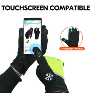 Vgo 2Pairs 41℉ or Above Winter Leather Gloves High Dexterity Cold Storage Work Gloves,Touchscreen (Black&Fluorescent Green,AL8772)