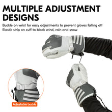 Load image into Gallery viewer, Vgo 2 Pairs -4℉ 3M G80 Lined Unisex Goatskin Waterproof Ski Gloves (Ladies, Grey, SF-GA2446FW-W)