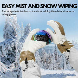 Vgo 2Pairs -4℉ 3M G80 Lined Unisex Goatskin Waterproof Ski Gloves (Mens,SF-GA2446FW-M)