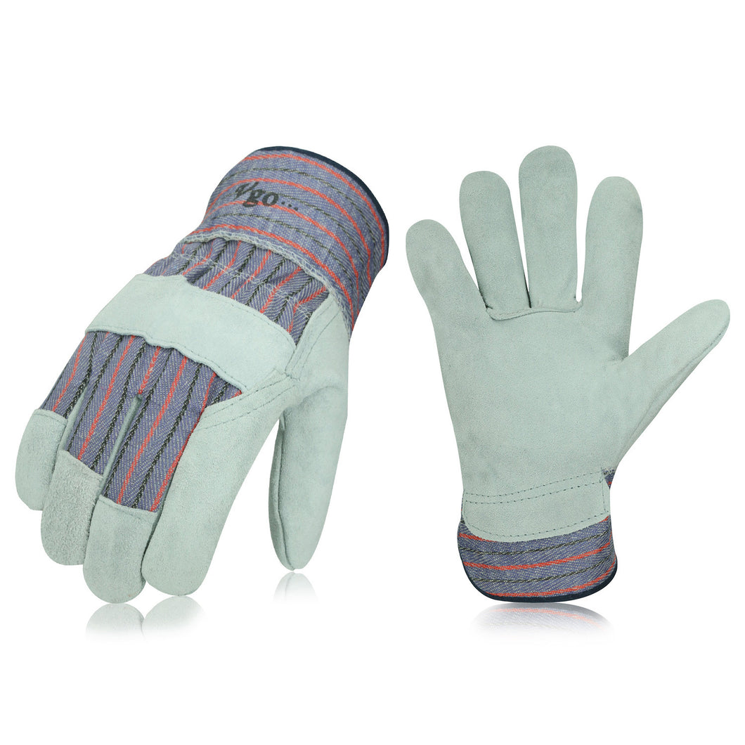 Vgo 90Pairs Cow Split Leather Men's Work Gloves with Safety Cuff (90Pairs,Plaid,CB3501-P)