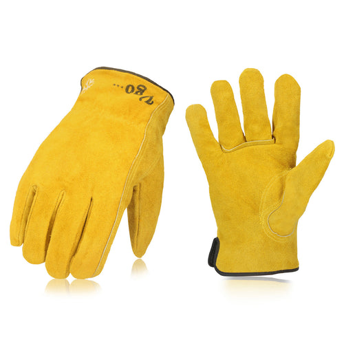 Vgo... 3Pairs 32℉ or above 3M Thinsulate C40 Winter Lined Cowhide Split Leather Work and Driver Gloves(Gold,CB9501F-G)