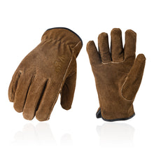 Load image into Gallery viewer, Vgo 3Pairs 41°F or above Cow Split Leather Winter Work Gloves, TR Lining w/Knitted Cuff (Brown, CB9501F)