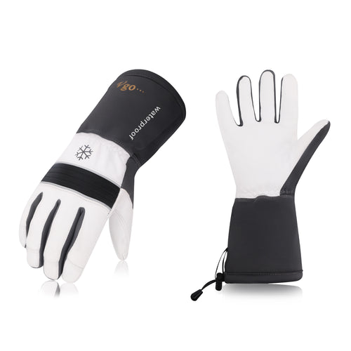 Vgo 1 Pair/2 Pairs/3 Pairs -23 ℉ or above Goatskin Leather Winter Gloves(Grey,GA8435FW)