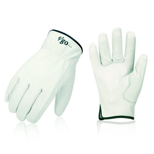 Vgo... 3Pairs Unlined Top Grain Goatskin Work and Driver Gloves(White,GA9501-W)