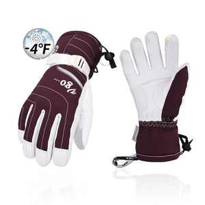 Vgo 1/2 Pairs -20℃/-4℉ or Above 3M Thinsulate G80 Ladies' Goatskin Leather Gloves (Purple/Black, SF-GA2444FW-W)