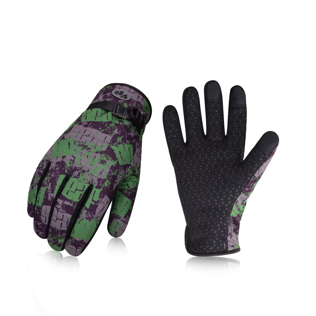 Vgo... 2Pairs 32℉ or Above 3M Thinsulate C40 Lined Men's Winter Outdoor Gloves Designed for Running, Cycling, Driving&Texting(Black&Green,SL221FW-M)