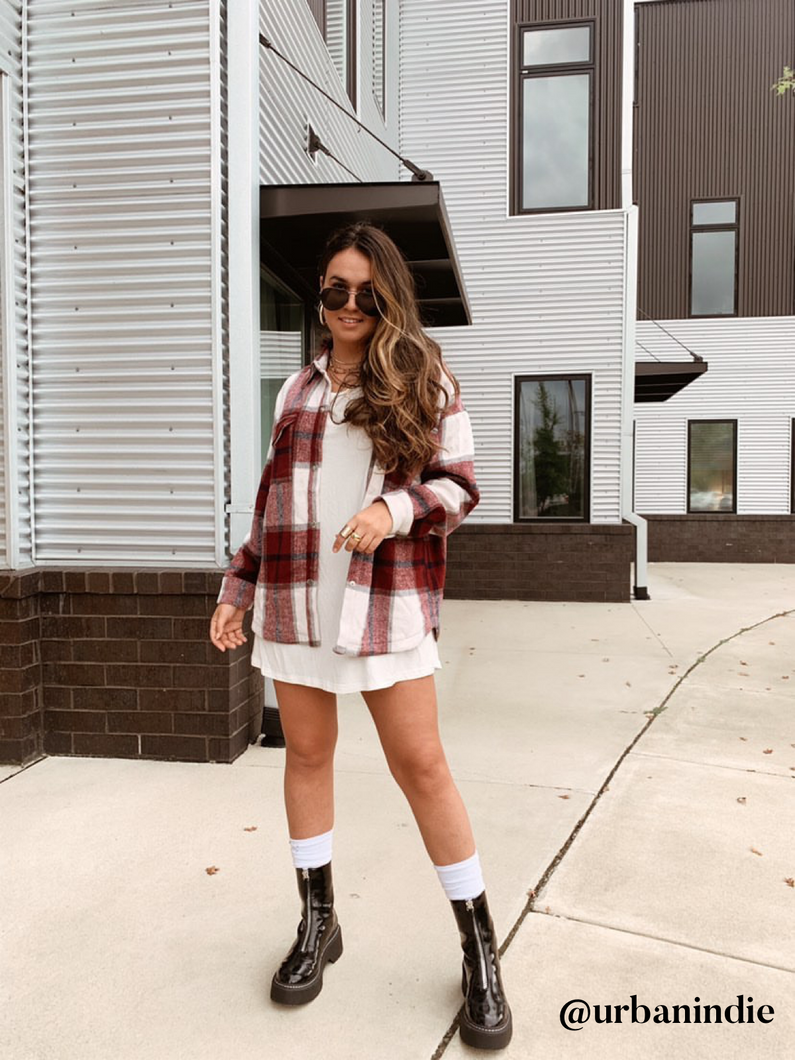 Talia Burgundy Oversized Flannel Shacket - Restock Coming Soon