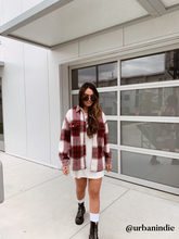Load image into Gallery viewer, Talia Burgundy Oversized Flannel Shacket - Restock Coming Soon