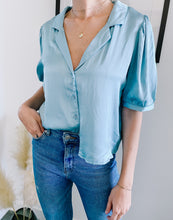 Load image into Gallery viewer, Kylie Powder Blue Collared Button Down Top