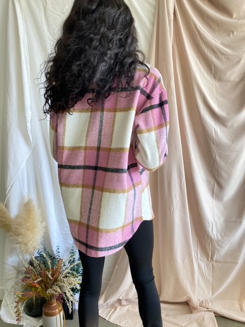 Talia Pink Oversized Flannel Shacket