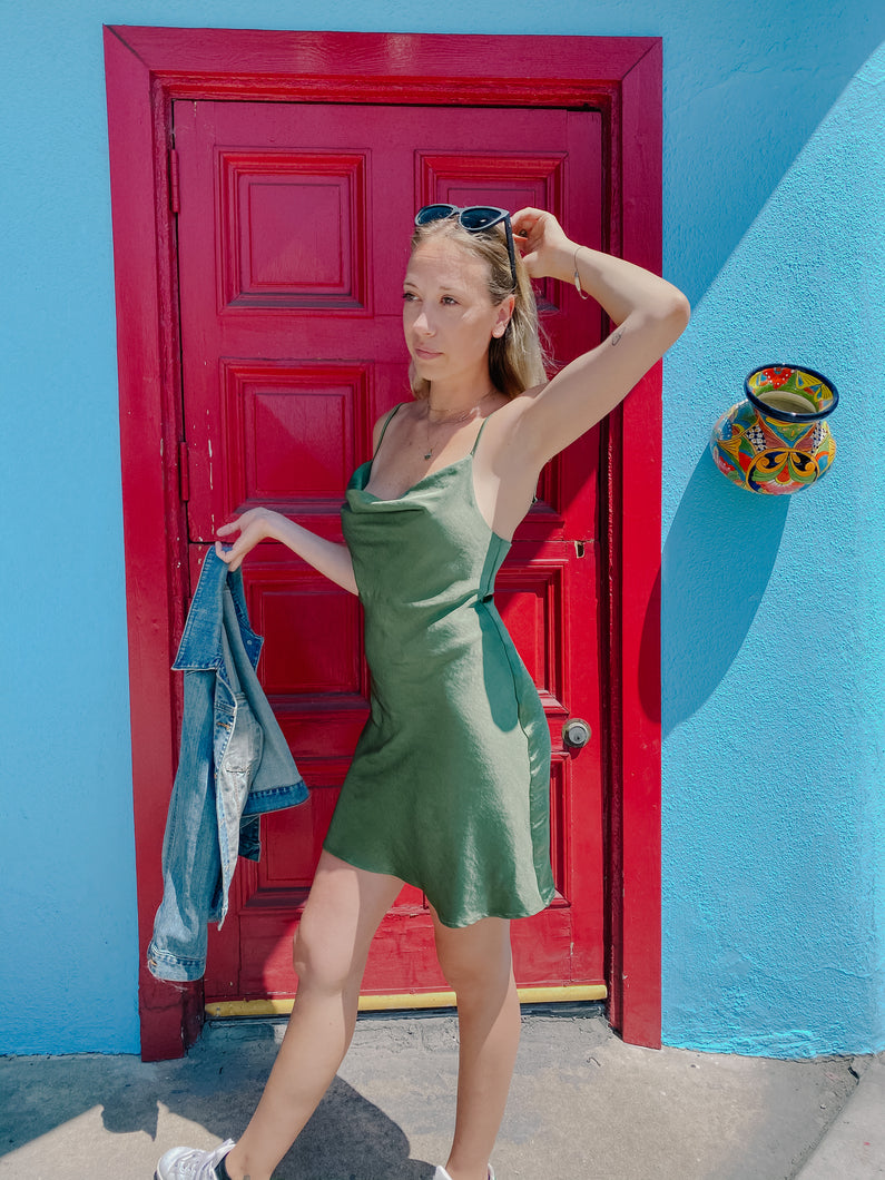 Jade Satin Slip Dress
