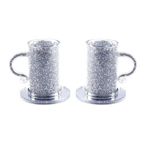 Set of 2 Silver Crushed Diamond Crystal Filled Coffee Tea Cup with Saucer, Turkish Glass Mug with Trimmings