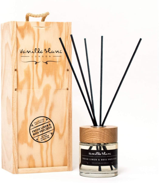 Vanilla Blanc Natural Reed Diffuser Encased in a Signature Hand Crafted Wooden Gift Box-Grenade & Frosted Vanilla, One Size