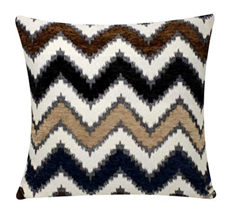 Bullahshah Zigzag Stripes Design Plush Chenille Velvet Square 17 x 17 inch Cushion Cover Pillowcase for Sofa Bed Couch