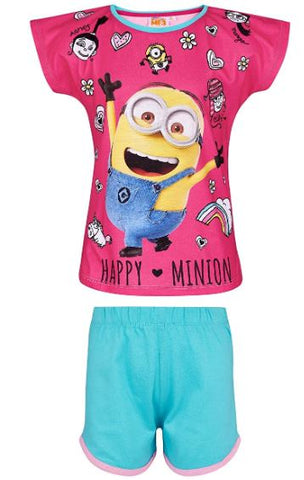MINIONS Despicable Me Girls Short Sleeve Pyjama - Fuchsia