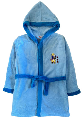 Fireman Sam Bathrobe Blue Hooded Dressing Gown, Soft Fleece Robe for Boys