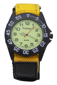 Entino Unisex Wrist Watch Luminous Face Hook and Loop Fastener Sports Analog Display Quartz Movement with Nylon Riptape Strap E-NTS