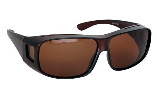 SUR-LUX Unisex Black with Brown Lens Fit Over Polarized Sunglasses Anti-Glare Anti-Reflective Lens Impact-Resistant UV400 100% Protection