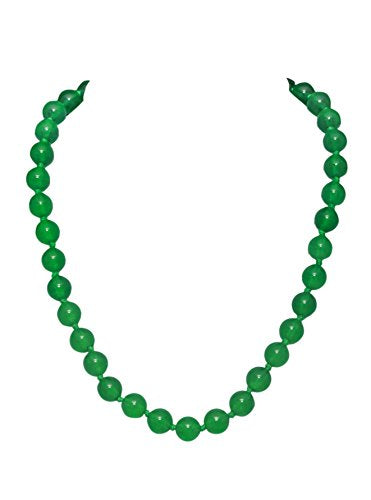 Bullahshah Green Agate Stone Necklace Choker for Women Girls Length-45cm, Stone Size 9-10mm with Rhodium Plated Hook & Extension Chain