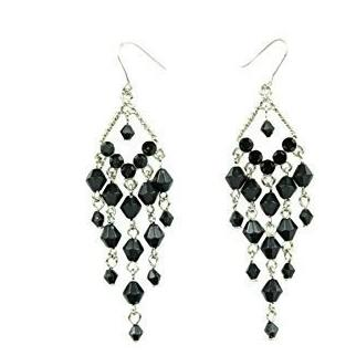 Black Crystal Drop Dangle Rhodium Plated Earring Fish Hook Back