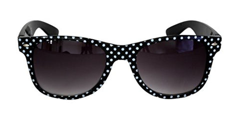 Foster Grant SPVL15725 FG111 Women's Rounded Rectangle, Full Frame Sunglasses Black and White Polka Dots Plastic Frame & Arms UV400 Black Gradient Lenses 100% UV Protection CAT 2
