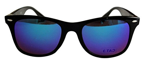 Unisex Plastic Frame with Mirror Lens Sunglasses Model No. 9057R Black Silver Frame Blue Mirror Lens