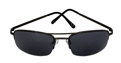 Foster Grant SPVL14920 FG110 Men's Rectangle, Full Frame Sunglasses Black Gun Metal Frame & Arms UV400 Black Semi Rimless Lenses 100% UV Protection CAT 2